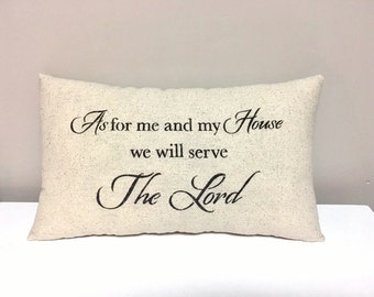 Handmade Pillow - Farmhouse - Religious Pillow - Stenciled Accent Home Decor Pillow