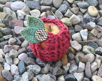 Ribbed Apple Cozy pdf Pattern with Leaves, crochet, digital download, photo prop, Apple keeper, lunches, school, teacher gift