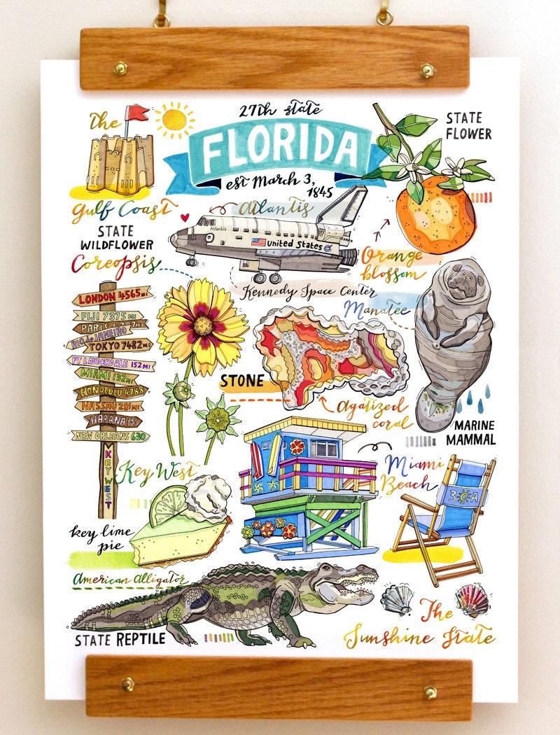 Florida print state symbols illustration state art key zoom buycottarizona