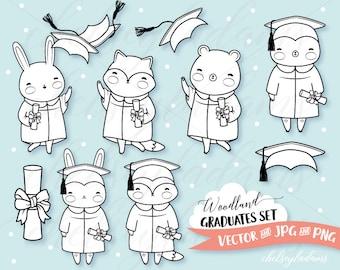 Graduation Digital Stamps Set, Woodland Animals Digi Stamps, Vector Digital Stamps, Cute Bear, Fox, Bunny, Commercial Use Graphics, Grads