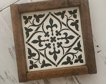 Farmhouse Style Faux Cement Tile Framed Wood Sign Farmhouse Decor Modern Farmhouse Sign Fixer Upper Style Wood Sign