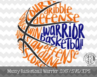 Messy Warrior Basketball design INSTANT DOWNLOAD in dxf/svg/eps for use with programs such as Silhouette Studio and Cricut Design Space