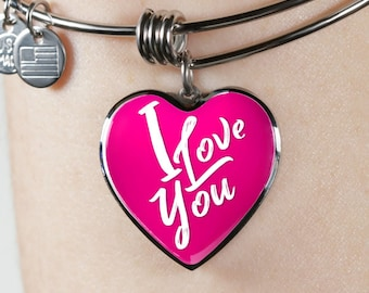 Simply say I love you with this heart design luxury steel bangle bracelet