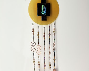 Iridescent Amber Glass Wind Chime - House Warming Gift - Free Shipping