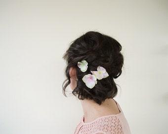 Silk Flower Hair Clip   Hair Pins for Wedding   Floral Hair Pins Wedding Hair Piece   Flower Hair Pin Set of 3