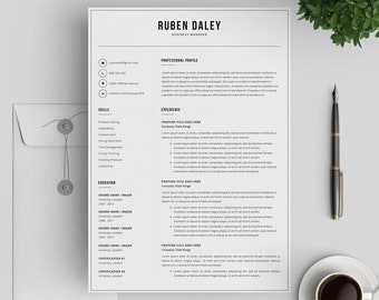 Modern Resume Template 3 Pages | Professional Resume Template | Printable CV Template for MS Word | Cover Letter | Instant Digital Download