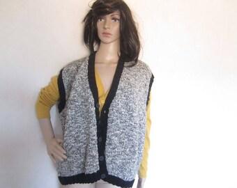 Vintage 80s knitted vest vest wool knit oversize