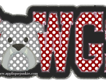 Vintage Stitch Dawgs with Bulldog Face Digital Applique Design