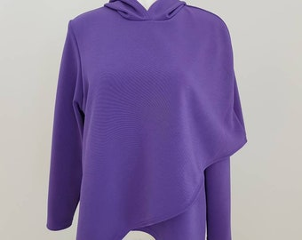 Woman's Capelet crossover asymmetric hoodie purple  sweater size medium