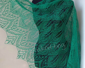 Lace linen wrap shawl in Green, emerald color - summer shawl