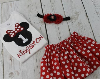 Minnie Mouse 1st Birthday Outfit Personalized Red Polka Dot Minnie Mouse Shirt Minnie Mouse 2nd Birthday Outfit Minnie Mouse 3rd Birthday