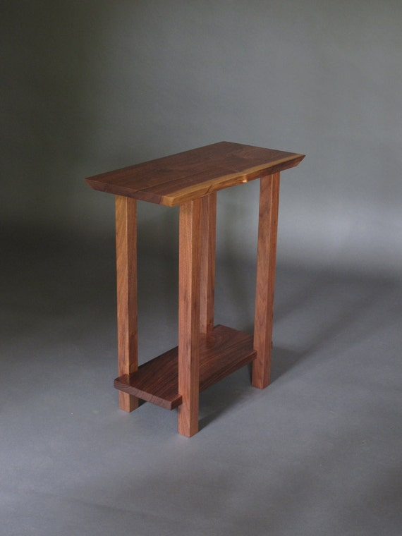 Small Table W Low Shelf Narrow End Table Live Edge Wood
