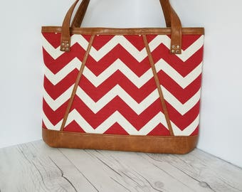 Red Tan Tote Bag, Brown Faux Leather, Beach Bag, Work Bag, Travel Bag, Laptop Bag, Diaper Bag, Handbags, Large Purse, Chevron Purse, Gift