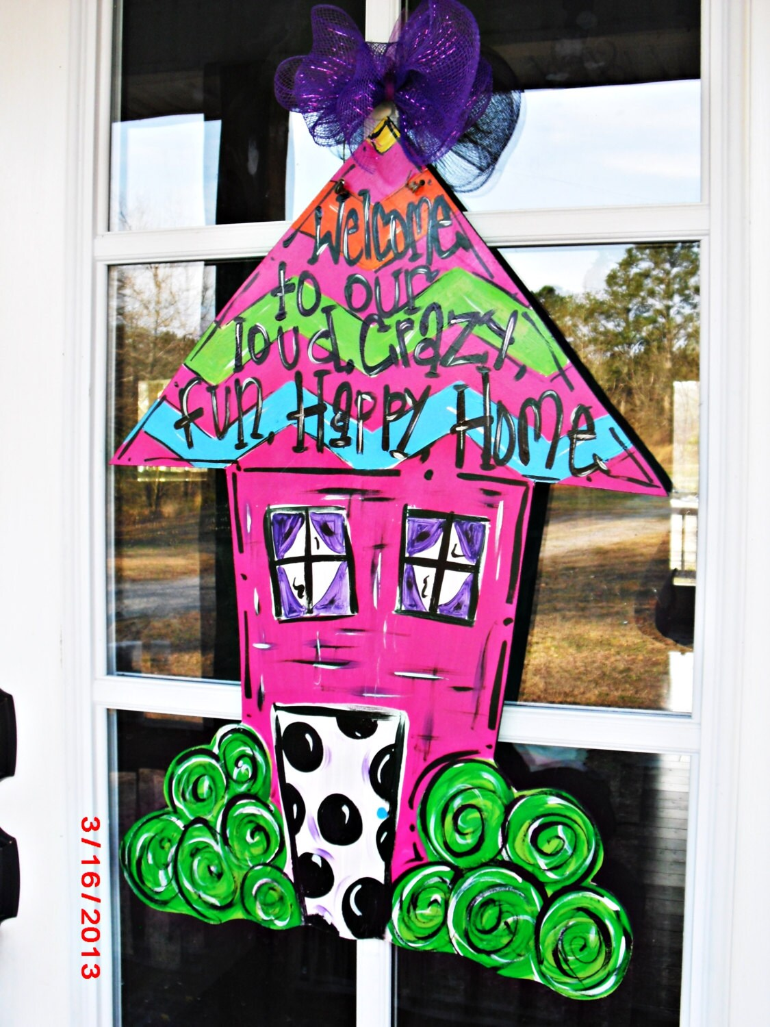 HOUSE SHAPE Wood Cut Out Door Hanger