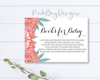 Floral Books For Baby Insert, Books For Baby, Floral Baby Shower Insert, Books For Baby Insert, Books For Baby Printable, Shower Insert
