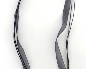 5 organza cord Ribbon necklaces cro001 black cotton