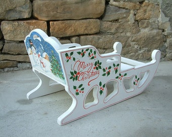 Winter sled Merry Christmas sleigh Hand painted wooden sleigh
