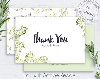 Printable Thank You Greeting Cards, Olive, Greeting Cards, Thank You Card PDF, Thank You Wedding, Editable, Green Leaves, Watercolor