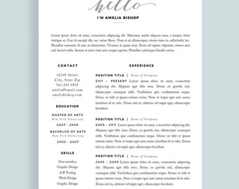 resume for mac modern resume cv one page resume template teacher resume - One Page Resume Template