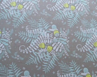 Funcy fern and snail print on grey background. Large print cotton fabric. Grey fabric.