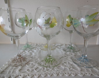 6 hand-painted wine glasses : butterflies and dragonflies