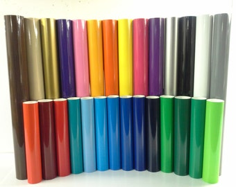 "12"" Hobby Vinyl (self adhesive): 25 Rolls, 5'ea, 26 Colors for Hobby Cutter"