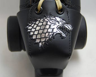 Leather Skate Toe Guards with a Silver Dire Wolf