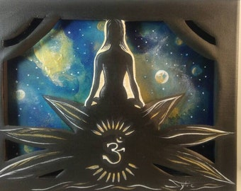 OM, the title of this original painting done in acrylic paint.