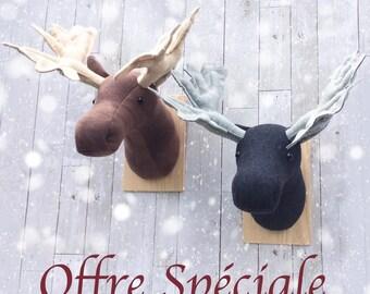 Moose head faux taxidermy, fake animal head, nursery wall decor, animal trophy, faux animal heads, rustic nursery, rustic decor, woodland