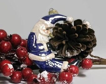 Ceramic Resting Santa Crescent Moon Christmas Ornament - Dark Delft Blue