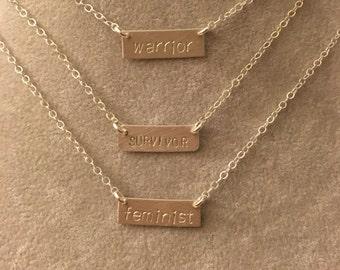feminist, warrior, or survivor sterling silver bar necklace --hand stamped.  feminism equality politics election democrat election 2016