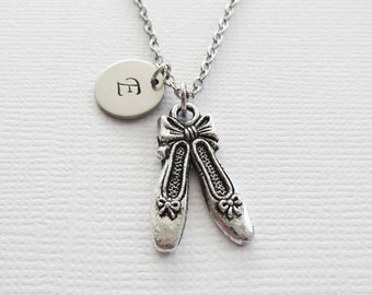 Ballet Necklace Ballerina Ballet Shoes Slippers Dance Recital Friend Birthday Gift Silver Jewelry Personalized Monogram Hand Stamped Letter