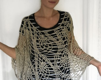 Gorgeous Hand Crocheted Poncho Wrap - Taupe