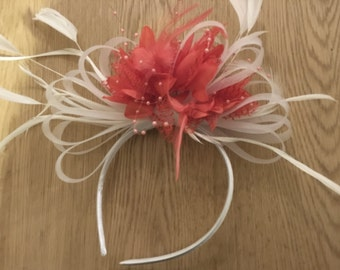 White & Coral Fascinator on Headband for Weddings and Ascot Races