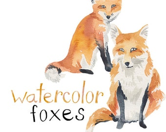 Watercolor Painted Foxes Clip Art Fox Commercial use digital scrapbooking Hipster clipart instant download