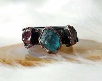 Size 7.5 crystal ring blue apatite garnet gemstone copper ring electroformed