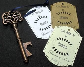 Key Bottle Opener - Rustic Wedding Favor - Set of 10 - Skeleton Key - Personalized - Custom - Unique - Vintage inspired - Key Ring