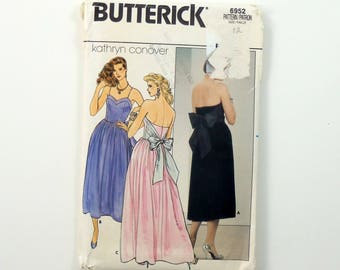 Vintage 80s Kathryn Conover Evening Gown Sewing Pattern, Uncut Pattern, Butterick 6952, Spaghetti Strap Dress, Size 12 Bust 34, Tea Length