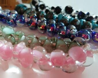 Unicorne Mini Teardrops Boriscilicate Glass Beads, 25 pieces - Boro Glass, Unicorn Bead, Dichroic Bead, Lampwork Bead, Glass Teardrops