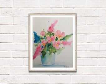 Original watercolor watercolour painting flowers flowers Watercolor vase of flowers