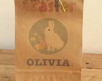 Personalised Gift Bags/ Easter Egg Hunt Bags with yellow ribbon.