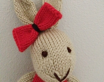 Knitted Bunny Rabbit  - Stuffed Toy in Dress - Stuffed Bunny - Stuffed Animal - Soft Toy - Knitted Bunny