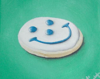 Smiley Cookie Acrylic Painting 6x6 inches