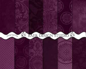 Purple Digital Paper Pack, Eggplant Digital Paper, Sangria Digital Paper, Plum Damask Digital Paper, Digital Paper Pack, #15179
