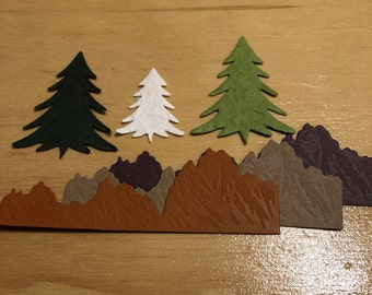3 Mountains, 3 Mulberry Trees, Browns, Greens, White, Handmade, Sizzix