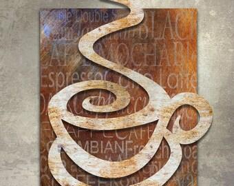 Coffee Metal Wall Art Sculpture