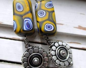 Mustard tribal earrings, Societa Veneziana Conterie Murano beaded earrings with silver accents