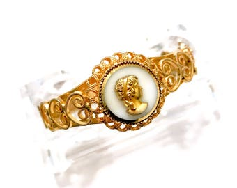 Hobe' Victorian Revival Cameo Bracelet, Hinged Bangle, Ornate Gold Tone Open Filigree, Faux MOP Glass Cameo, Designer Signed, Gift for Her