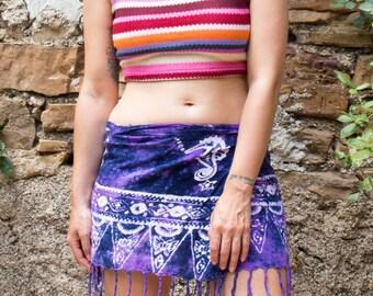 Vintage Tie Dye Fringe Wraparound Mini Skirt