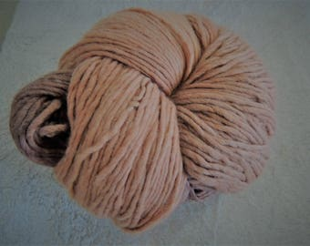 Hand spun & dyed  bulky wool yarn in tans and browns.  295 grams